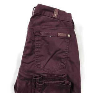 7 For All Mankind Burgundy Skinny Ankle Jeans